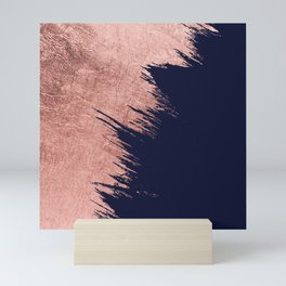 Navy blue abstract faux rose gold brushstrokes Mini Art Print