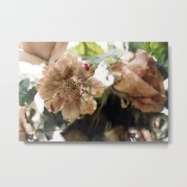 Peach Coral Green Abstract Impressionistic Flowers Wall Prints Home Decor Metal Print