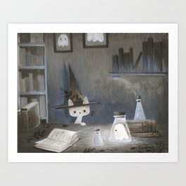 Little ghost and wizard cat Art Print