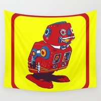 robot Wall Tapestries featuring Robot V by Silvio Ledbetter