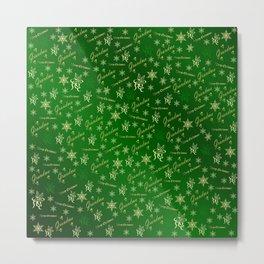 grandma Golden merry christmas font with stars, ornaments elegant festive gold hearts in green Metal Print