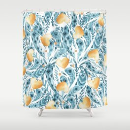 Hand painted blue yellow watercolor bohemian feathers hearts Shower Curtain