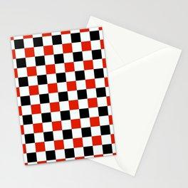 Red Black White Checker Stationery Cards