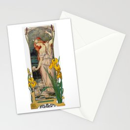 Vintage Art Nouveau Painting - Redhead with Flowers Stationery Cards