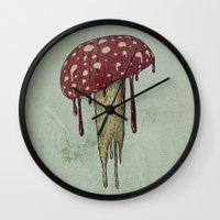 mushroom Wall Clocks featuring Mushroom by Lime