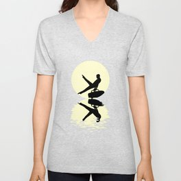 Moon Gymnastics Tee Shirt Unisex V-Neck