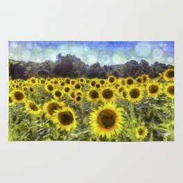 Sunflower Fields Of Dreams Art Rug