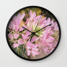Pink Abstract Unique Flowers Wall Clock