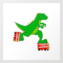 dinosaur riding roller skates. Art Print