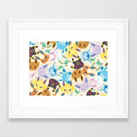 eevee Framed Art Prints featuring Eevee Evolutions by RAVEFIRELL