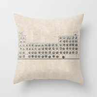 periodic table Throw Pillows featuring Periodic table by Florian Pasquier