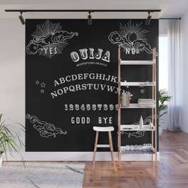 Ouija Board White on Black Wall Mural