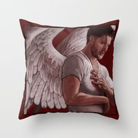 dean winchester Throw Pillows featuring Michael. Dean Winchester by Armellin