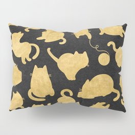Gold on Black Kitty Pattern Pillow Sham