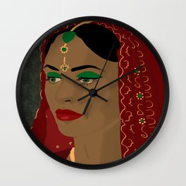 Indian Bride in red  Wall Clock