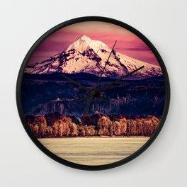 Mt Hood on Columbia River Wall Clock