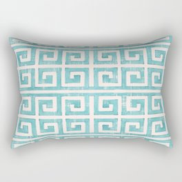 Greek Key Distressed Shabby Beach Cottage Pattern Rectangular Pillow