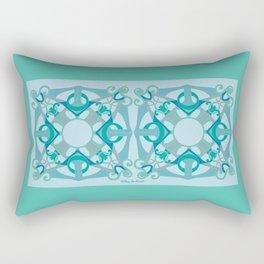 Support Love Mandala x 2 - Aqua/Blue Rectangular Pillow