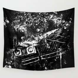 lost place rusty american car wreck splatter watercolor black white Wall Tapestry