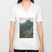 hawaii V-neck T-shirts featuring Hawaii Mountain by Kurt Rahn