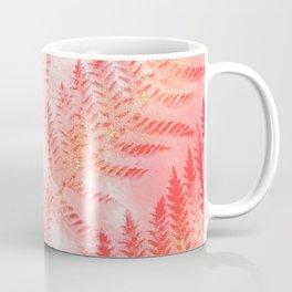 Blush Living Coral Mediterranean Fern Botanical Nature Glitter Pattern Coffee Mug