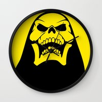 skeletor Wall Clocks featuring Skeletor. by Glassy