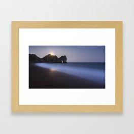 Moonrise at Durdle Door Framed Art Print