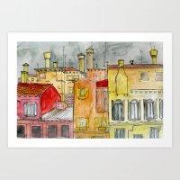 italian Art Prints featuring Italian Street by Bunny Noir