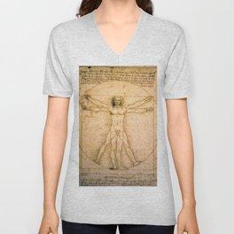 Vitruvian Man by Leonardo da Vinci Unisex V-Neck