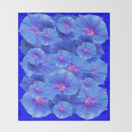 Blue Morning Glories  Floral Collage Pattern Abstract Throw Blanket