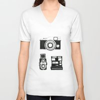cameras V-neck T-shirts featuring Three cameras. by WEUSEDTODANCE