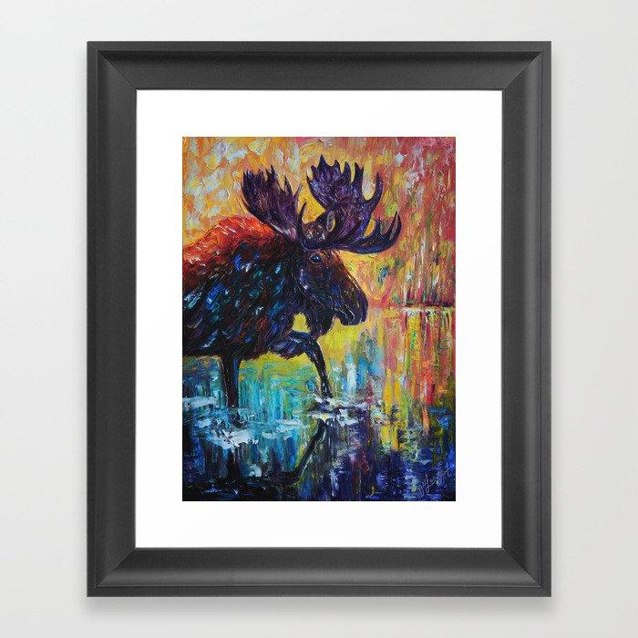 Moose in Turquoise Lake  Palette Knife  Painting by OLena Art Gerahmter Kunstdruck