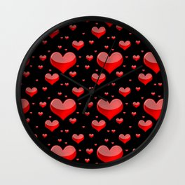 Hearts Red and Black Wall Clock