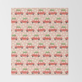 Red Vintage Holiday Christmas Cars Throw Blanket