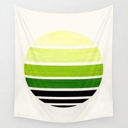 Sap Green Mid Century Modern Minimalist Circle Round Photo Staggered Sunset Geometric Stripe Design Wall Tapestry