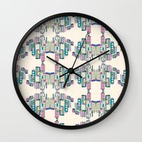 buildings Wall Clocks featuring Buildings by MissSOTOKA