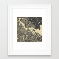 amsterdam Framed Art Prints featuring Amsterdam by Map Map Maps