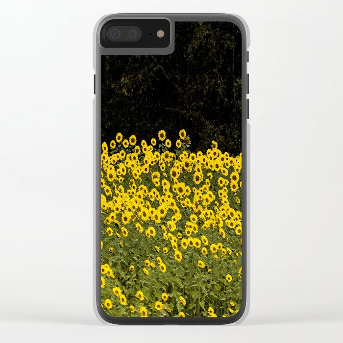 Sunflower Field On A Dark Background #decor #buyart Clear iPhone Case