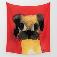 pug Wall Tapestries featuring Pug by Danilo Gonçalves
