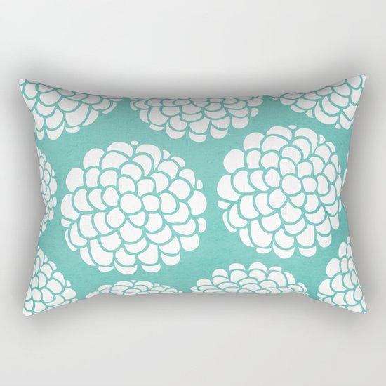 Turquoise Blossoms Rectangular Pillow
