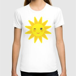 funny cartoon yellow sun smiling and winking eyes and pink cheeks, sun on white background T-shirt