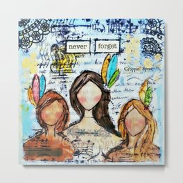 Mixed media art. Anti-abuse, First Nations Women. Stop violence against women. Metal Print