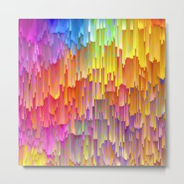 Vibrant Rainbow Cascade Design Metal Print