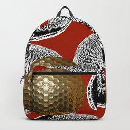 RED PATTERN GOLD GOLF BALLS Backpack