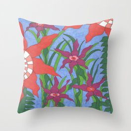 Boho Garden Blues Throw Pillow