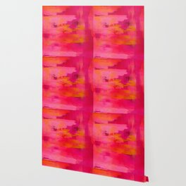 """""""Abstract brushstrokes in pastel pinks and oranges decorative pattern"""" Wallpaper"""
