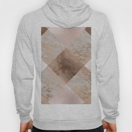 Copper and Blush Rose Gold Marble Gingham Hoody