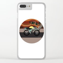 Vintage Moto on the Open Road Clear iPhone Case