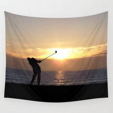 Playing Golf At Sunset Wall Tapestry