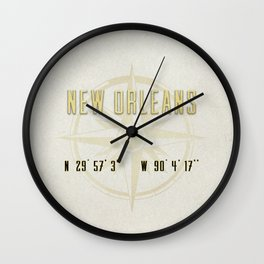 New Orleans - Vintage Map and Location Wall Clock